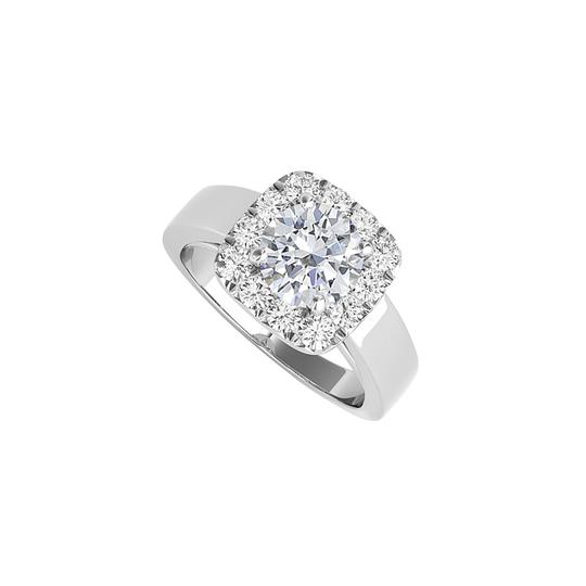 DesignerByVeronica Round Cubic Zirconia Halo Square Ring in 14K White Gold