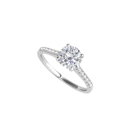 DesignerByVeronica Lovely Gift CZ Engagement Ring in 14K White Gold