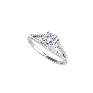 DesignerByVeronica Split Shank Ring in 14K White Gold with Cubic Zirconia