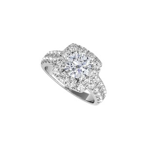 DesignerByVeronica 14K White Gold Halo Ring with Round Cubic Zirconia
