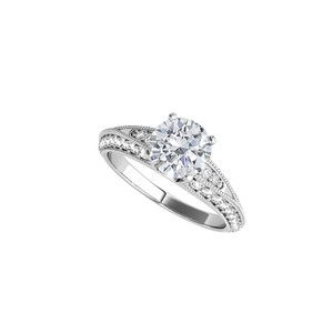 DesignerByVeronica Round Shaped Cubic Zirconia Ring in 14K White Gold