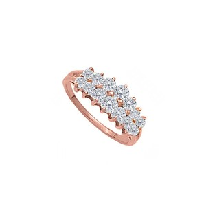 DesignerByVeronica Stunning Cubic Zirconia Pyramid Ring in 14K Rose Gold