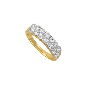 DesignerByVeronica Chic Cubic Zirconia Cluster Ring in 14K Yellow Gold