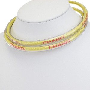 Chanel CHANEL Logos Tube Necklace Vinyl Yellow 00T France Accessory