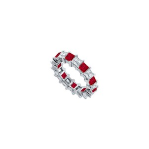 DesignerByVeronica Cubic Zirconia and Created Ruby Eternity Band 925 Sterling Silver 5.00