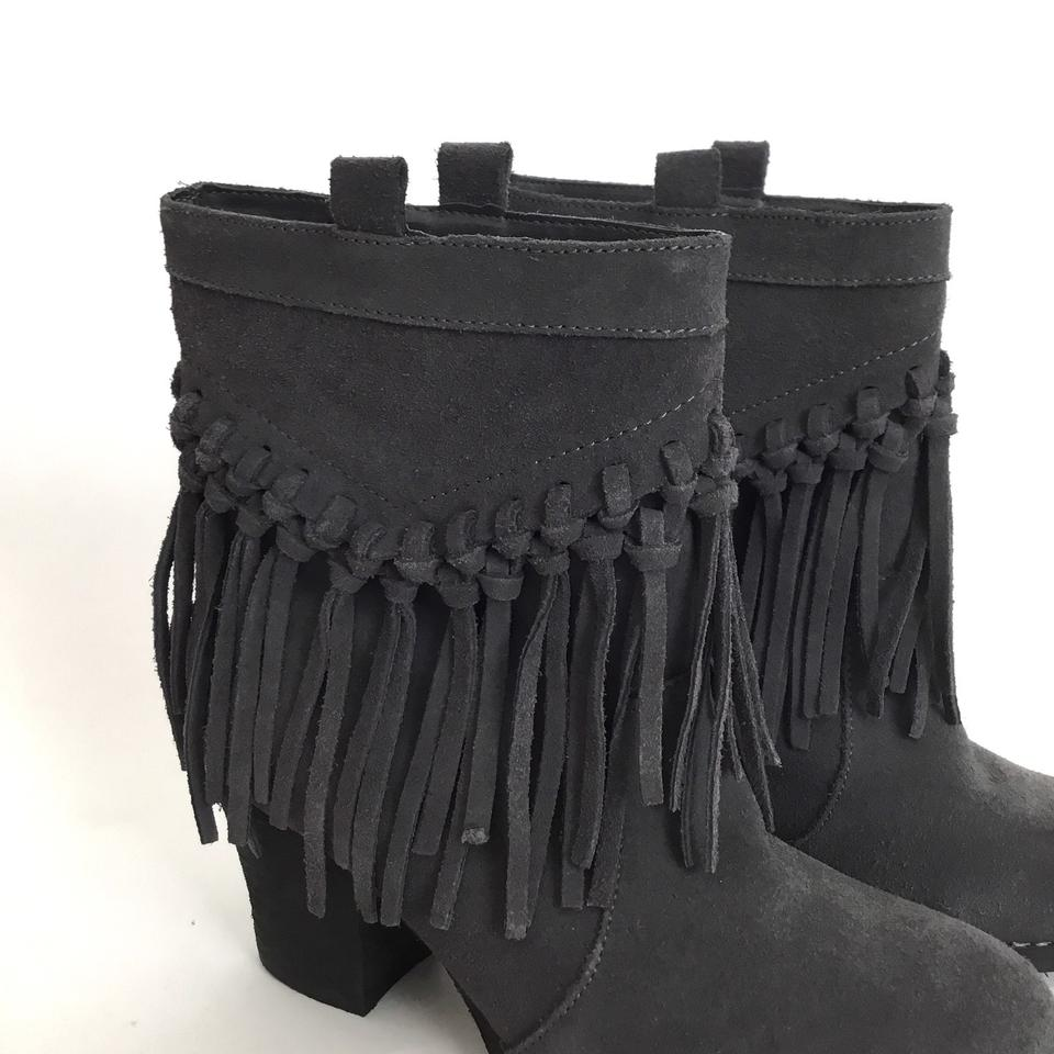 496817c19e587 Sbicca Grey Sound Suede Fringe Ankle Boots Booties Size US 7 Regular (M