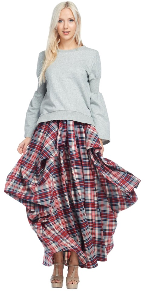 5a4914ec96 TOV Holy Red & Blue Multi Plaid Pleated Gore Skirt Size 4 (S, 27 ...