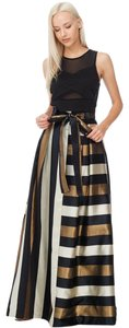 TOV Holy Metallic Striped Maxi Skirt Gold & Black
