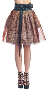 TOV Holy Layered Screen Gathered Overlap Mesh Mini Skirt Copper, Purple & Black