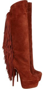 Christian Louboutin Interlopa 160 Mm Fringed Knee High Brick Red, Brown Boots