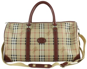Burberry Keepall Haymarket Boston Duffle Bandouliere Brown Travel Bag