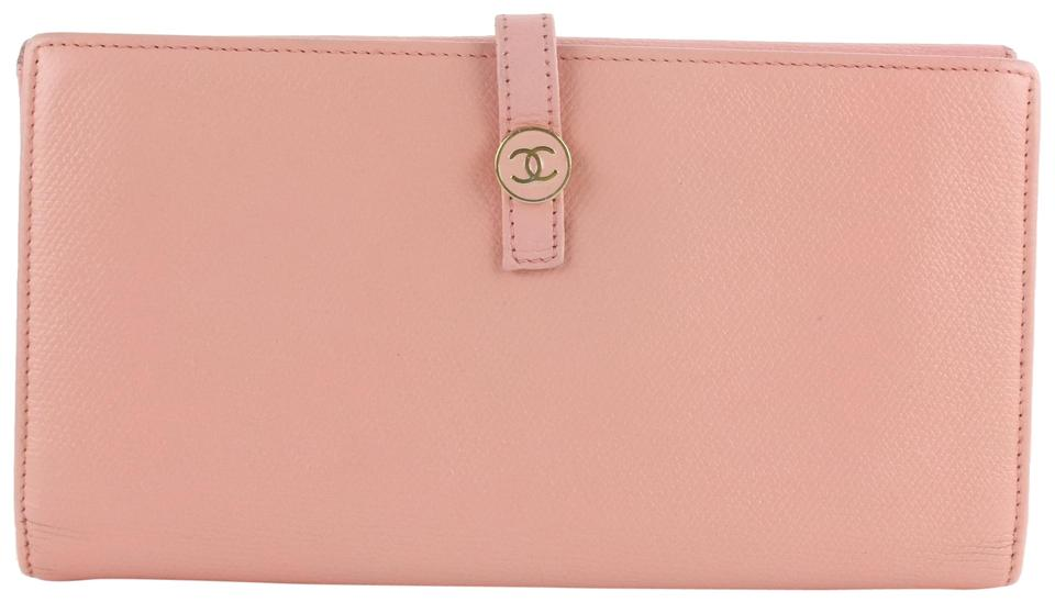 1d71118eb01533 Chanel Button Line Long Flap Wallet 10cz1029 Pink Leather Clutch ...
