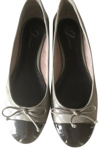 Delman Quilted Leather Ballerina Patent Tip Grey Black Flats