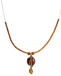Handmade Handmade Choker, Rust Coin Gem with Rust Seed Beads