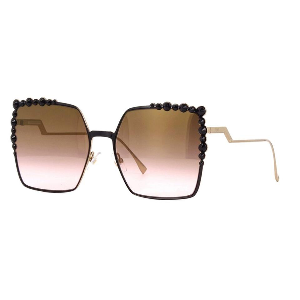 ba568ad90e Fendi Black Gold Can Eye Ff0259s Oversized Square Studded Sunglasses ...