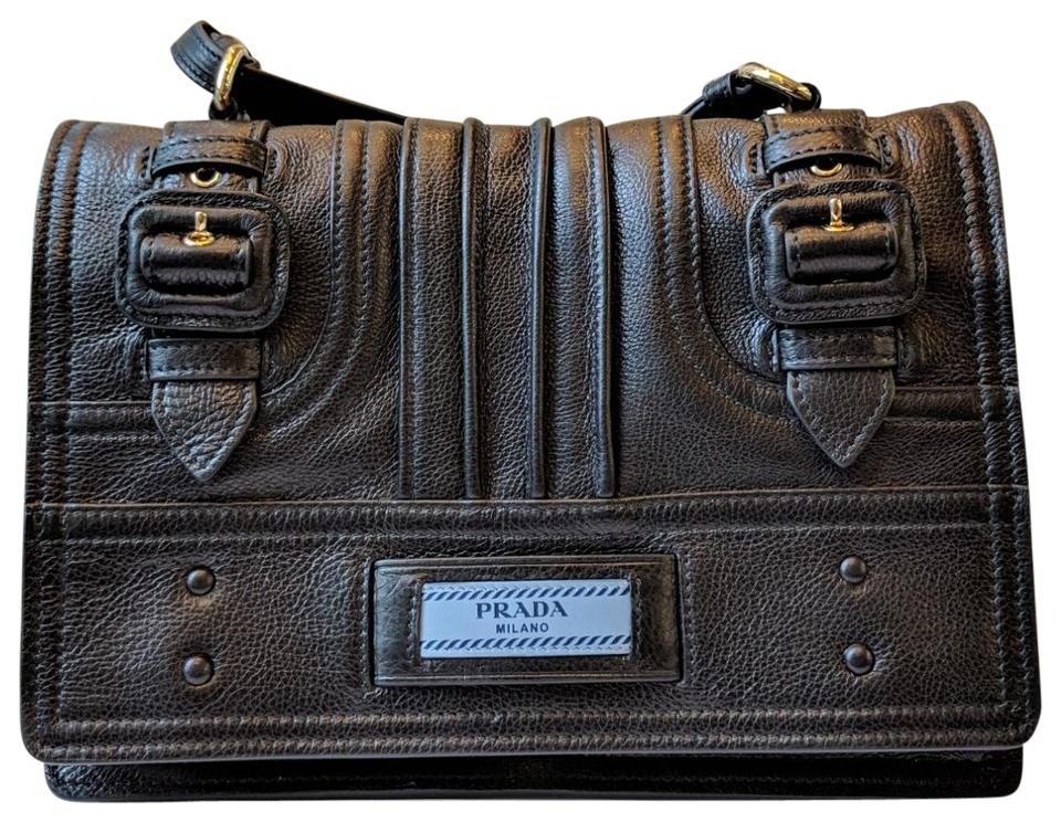 quality products discount for sale sells Prada Etiquette 1bd093 Calf Black Leather Shoulder Bag