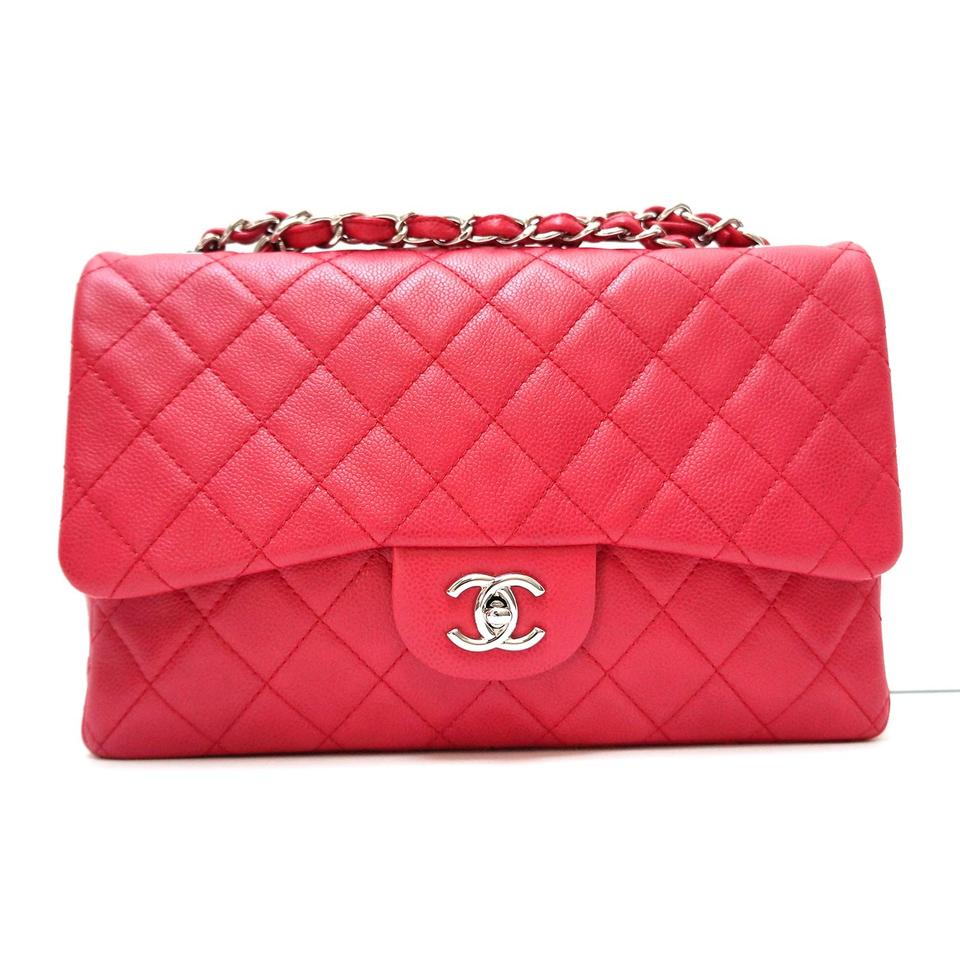 7daed08f4cf Chanel Classic Flap Jumbo Single Raspberry Red Washed Caviar Leather  Shoulder Bag