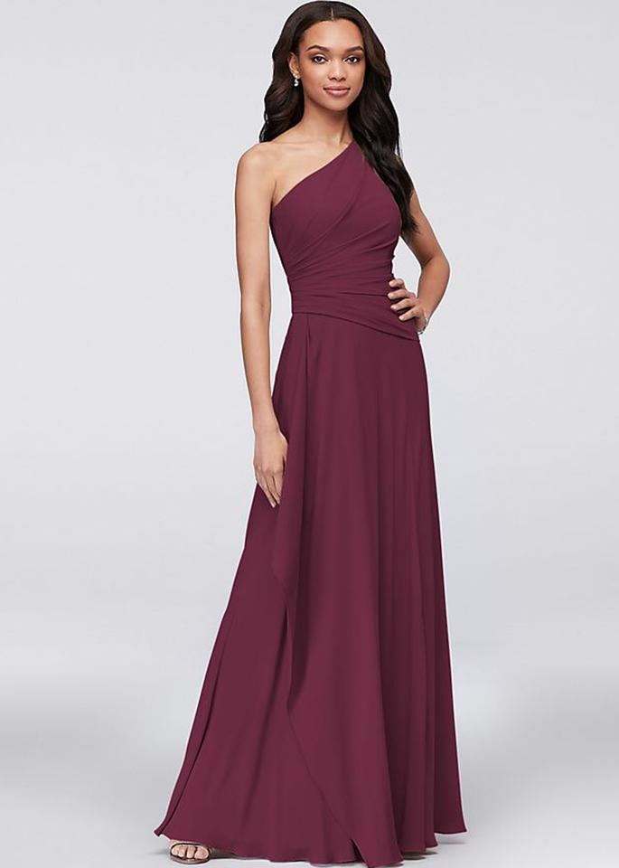 73edd2ba6498d David s Bridal Wine Polyester Georgette Long One Shoulder Formal Bridesmaid Mob  Dress Size 2 ...