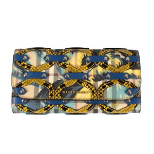 Burberry Blue/Yellow Floral Haymarket Check Studded Leather