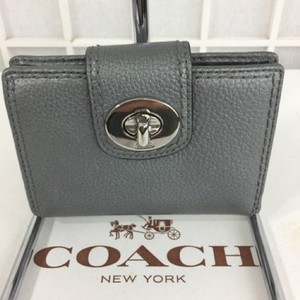 Coach COACH SILVER METALLIC LEATHER TURNLOCK BIFOLD WALLET