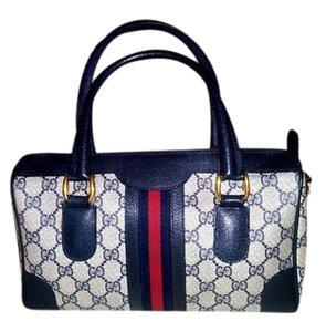Gucci Satchel in Navy with RED