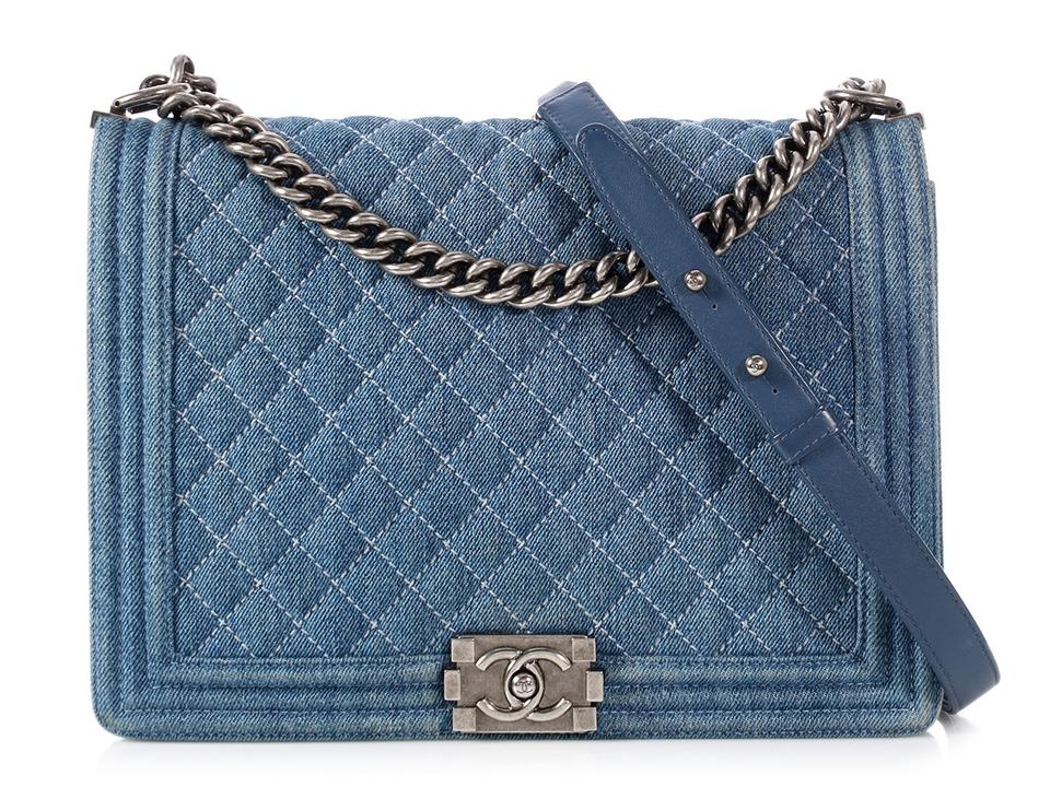 556f1189d6c4 Chanel Boy Large Quilted Blue Denim Shoulder Bag - Tradesy