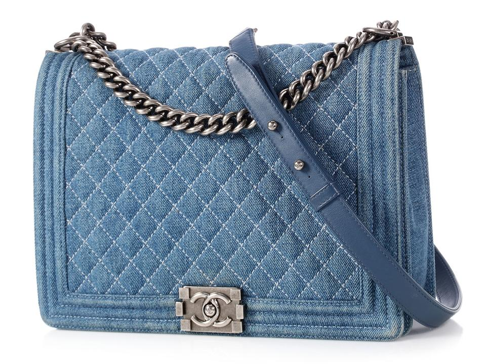Chanel Boy Large Quilted Blue Denim Shoulder Bag - Tradesy 422164b1ca