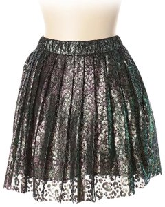 House of Holland Metallic Lace Oil Spill Style Skirt Green