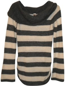 love rocks Tunic Cowl Neck Striped Elastic Cinched Side Sweater