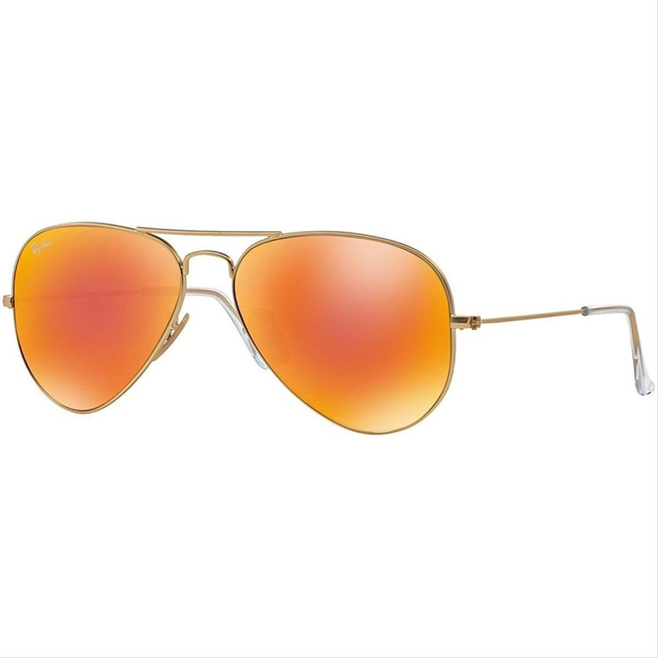 2df5005192 Ray-Ban Matte Gold Frame Aviator Style Unisex Rb3025 112 69 Orange Flash  Mirrored Lens Sunglasses 31% off retail