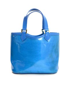 Louis Vuitton Vinyl Leather Drawstring Terry Cloth Bucketbag Tote in Blue