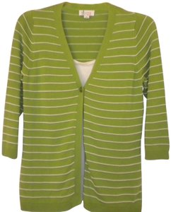 Denim & Co. Layered Look Green/White 3/4 Sleeve Cardigan Button Front Sweater