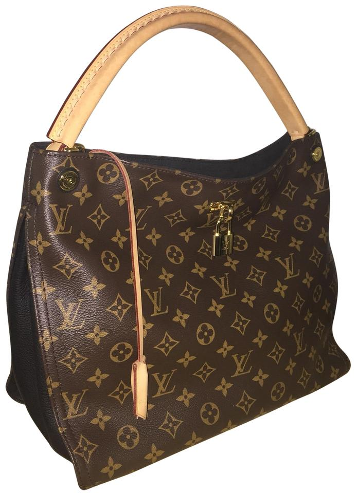 5691ac328b7a Louis Vuitton Gaia Noir Rare Monogram Parnassea Black Calfskin Leather Hobo  Bag