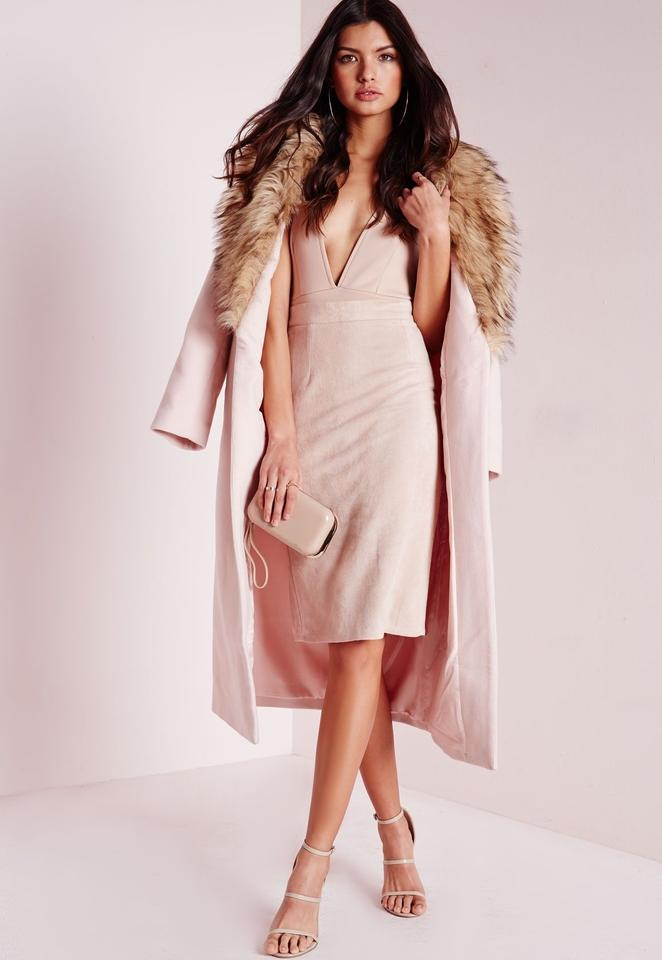 28059ae6a6d4 Missguided Blush Pink New Longline Wool with Faux Fur Collar Coat ...