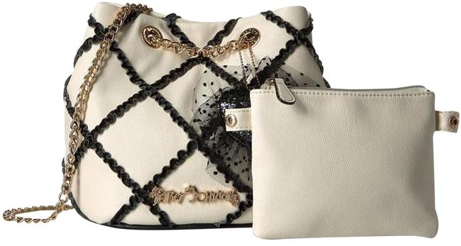 Item - Cross Your Heart Bone/Black Faux Leather Satchel