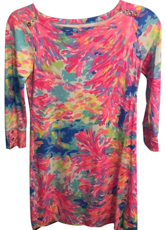 5a5515e95a0f7a Lilly Pulitzer Coral Print Sophie Short Casual Dress Size 2 (XS ...