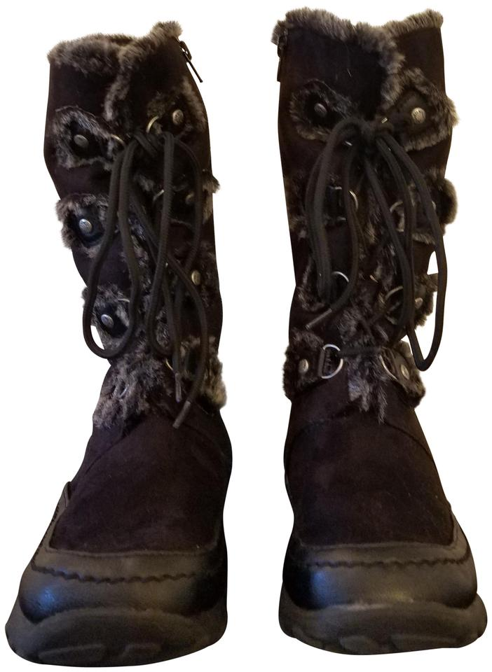 55723dce31 Nine West Black Suede Faux Fur Lined Lace Up Boots/Booties Size US 5 ...