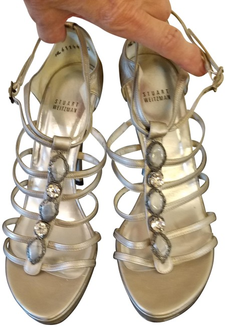 Item - Silver Leather Jeweled Strappy Sandals Size US 10 Regular (M, B)
