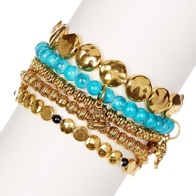 Amrita Singh Shiny Gold Eastern Charms Beads Turquoise New Bracelet Amrita Singh Shiny Gold Eastern Charms Beads Turquoise New Bracelet Image 1