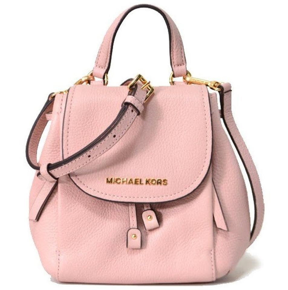 ac50d6faf015 Michael Kors Backpack Riley Small Flap Pebbled Pink Leather Cross Body Bag