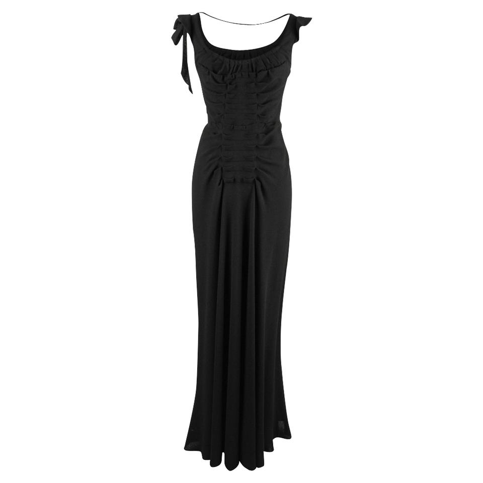 16e95eef580 Prada Black Vintage Gown Divine Cut Front and Rear Pleating 40   6 Formal  Dress