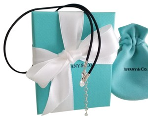 Tiffany & Co. Tiffany & Co Black Leather Rubber Cord Chain Extendable Necklace