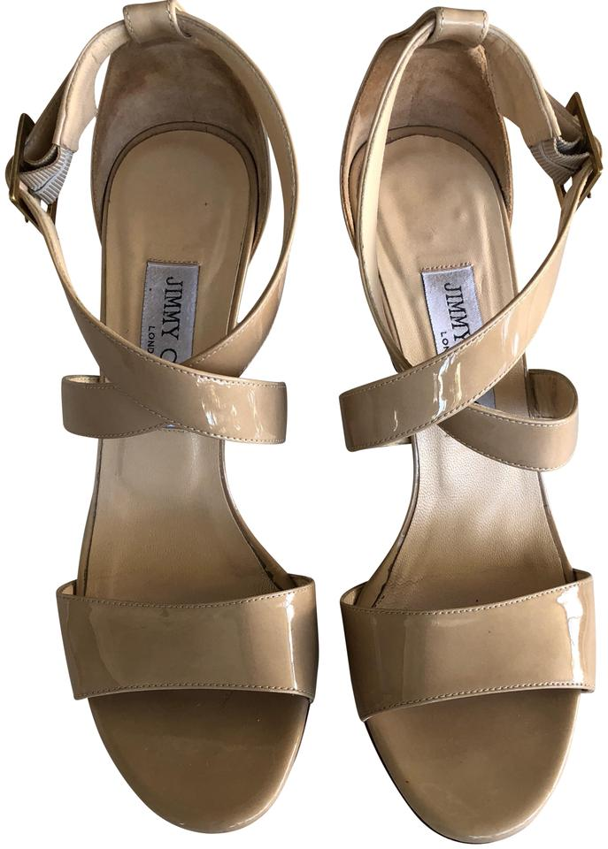 a758541a3f Jimmy Choo Nude Patent Leather Fearne Criss Cross Strap Sandals ...