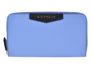 Givenchy Givenchy Smooth Blue Leather Continental Zip Around Wallet TFH_44