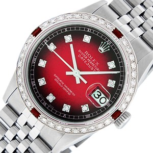Rolex Rolex Mens Datejust SS/18K White Gold with Red Vignette Diamond Dial