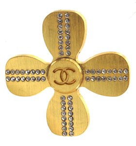 Chanel CC Clover with crystals gold hardware brooch pin charm