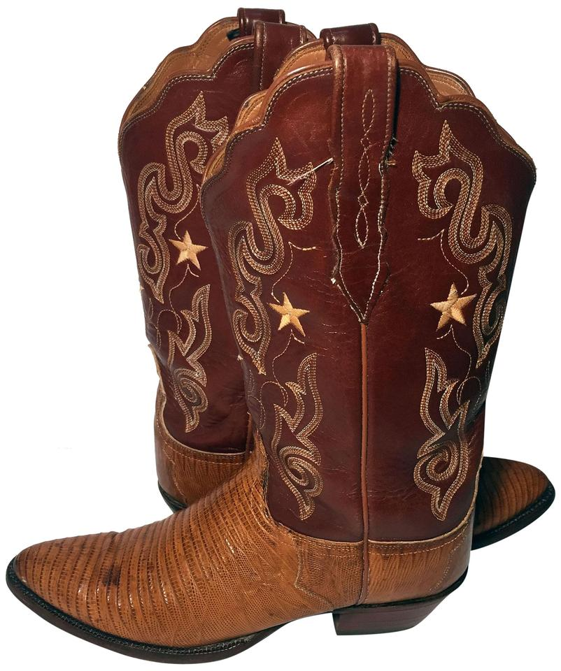ad11f7853c7 Lucchese Brown Leather Lizard Exotic Skin Cowgirl Women Boots Booties. Size   US 10 ...