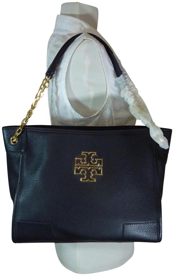 302bf7af09e Tory Burch Britten Small Slouchy Black Leather Tote - Tradesy