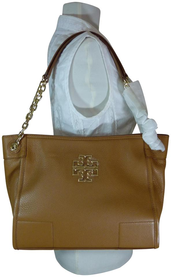35ef51c19de5 Tory Burch Britten Bark Small Slouchy Brown Leather Tote - Tradesy