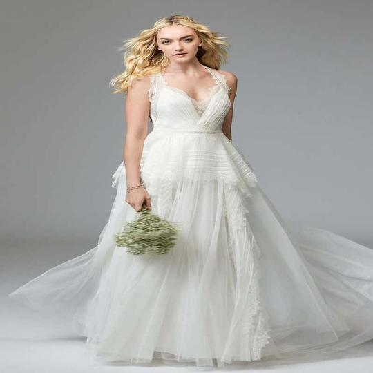 Watters & Watters Bridal Off White Lace Jewel Net A-line Gown (Willowby Feminine Wedding Dress Size 10 (M) Image 10